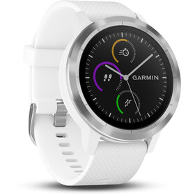 Garmin vívoactive 3 GPS Sportuhr mit weißem Silikonarmband edelstahl